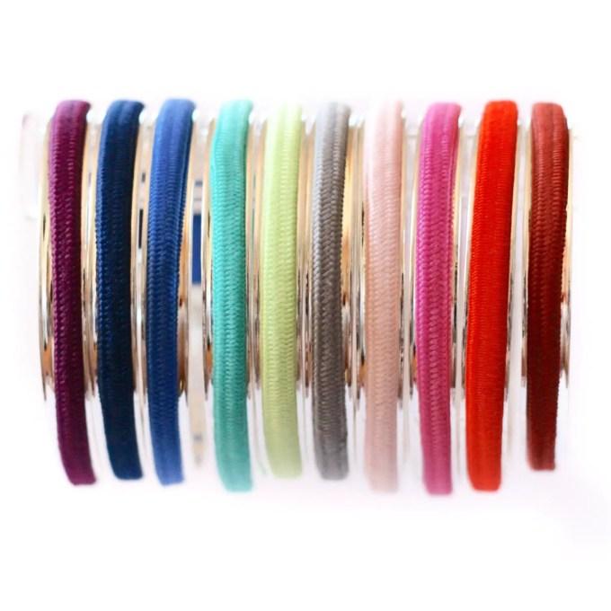 colorful no slip hair ties for hair tie bracelets | http://emmalinebride.com/gifts/hair-tie-bracelets/