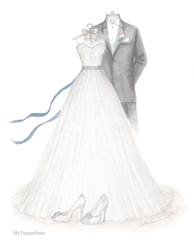 wedding dress and suit sketch | via 15 Best Gifts for the Bride from Groom + Wedding Gifts for Bride from Groom | http://emmalinebride.com/gifts/gifts-for-the-bride-from-groom/