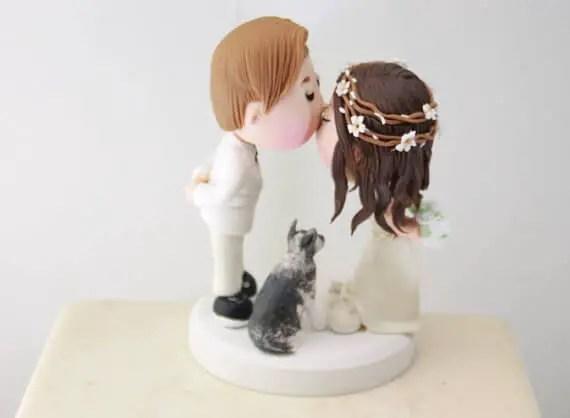 figurine wedding cake toppers rustic hair wreath bride