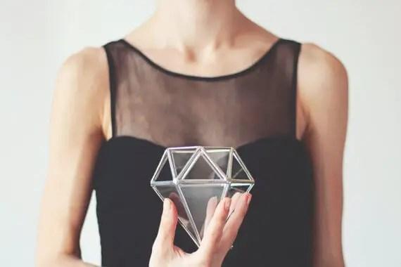 geometric glass diamond box by waen | via 21 Totally Fun Ring Themed Bridal Shower Ideas → http://emmalinebride.com/planning/ring-themed-bridal-shower/