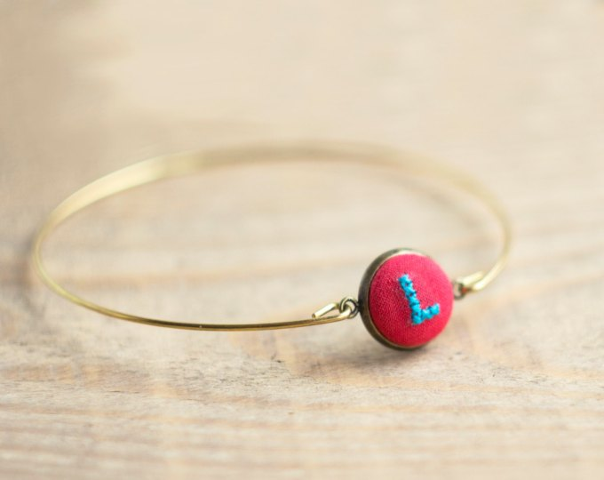 personalized initial bangle | Hand Stitched Initial Necklaces - http://emmalinebride.com/wedding/hand-stitched-initial-necklaces/