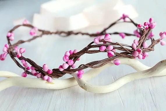 pink berries crown for flower girls   flower girl hair crown http://emmalinebride.com/flower-girl/hair-crown-pink-berry/