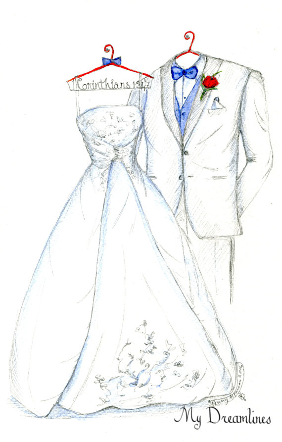 wedding dress and suit sketch