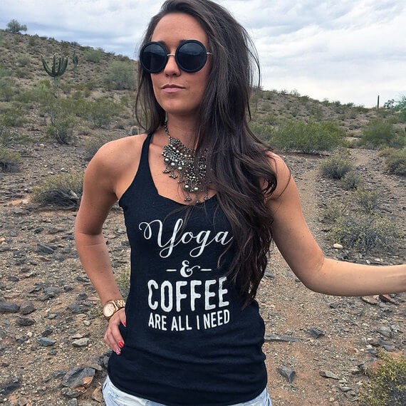 yoga and coffee are all i need tank | bridesmaid yoga pants, tank tops, gifts & more | http://emmalinebride.com/gifts/bridesmaid-yoga-pants-gifts/