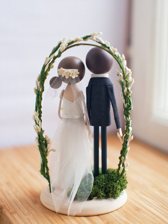 bride groom couple cake topper back