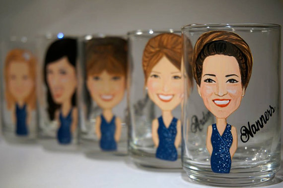 bridesmaid shot glasses painted