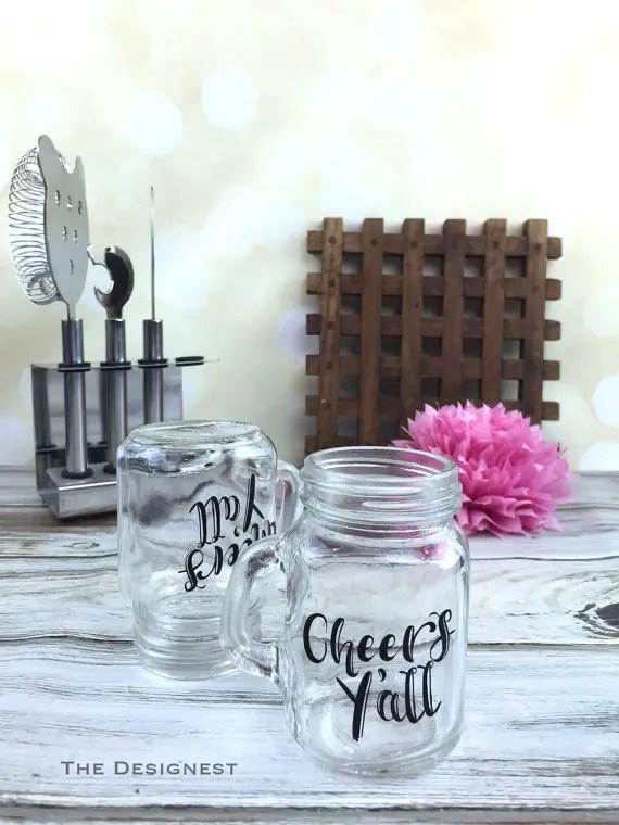 cheers yall mini mason jar shot glasses | country bridesmaid gifts under $25 via http://emmalinebride.com/rustic/country-bridesmaid-gifts/