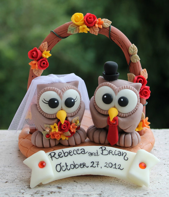 fall wedding owl cake toppers for weddings