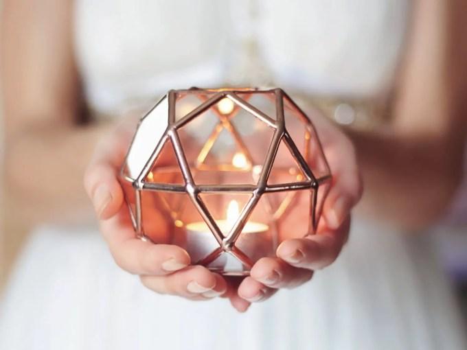 geometric wedding candle holder