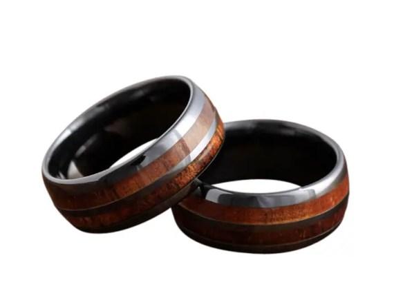 koa wood rings barrel ceramic
