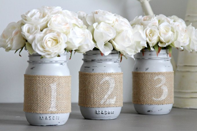 mason jar table numbers by lovelivencreate