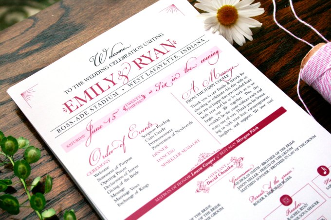 printable hot pink wedding programs for ceremony