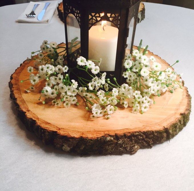 rustic wood slices centerpieces - wood centerpieces for wedding