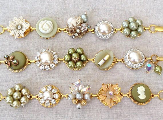 sage bracelets by chicmaddiesboutique | via Sage Wedding Ideas from http://emmalinebride.com/color/sage-green-wedding-ideas/