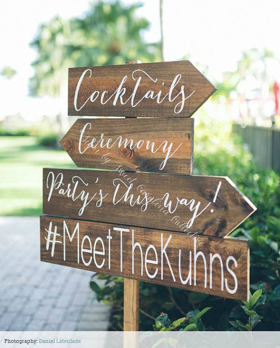 wedding directional sign cocktails via 26 Things Guests Love at Weddings from A to Z | http://emmalinebride.com/planning/things-guests-love-at-weddings/ 
