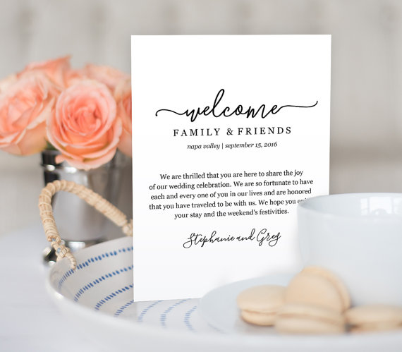 wedding welcome note by mintypaperieshop via 26 Things Guests Love at Weddings from A to Z | http://emmalinebride.com/planning/things-guests-love-at-weddings/ 