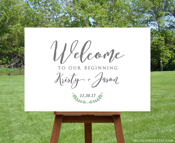 welcome to our wedding sign | via Sage Wedding Ideas from http://emmalinebride.com/color/sage-green-wedding-ideas/
