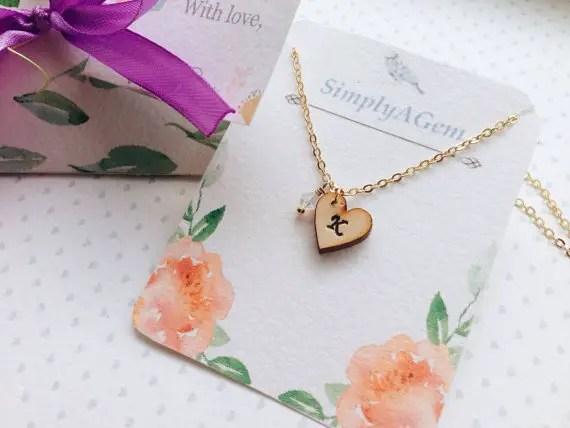 wodo initial necklace by simplyagem | country bridesmaid gifts under $25 via http://emmalinebride.com/rustic/country-bridesmaid-gifts/