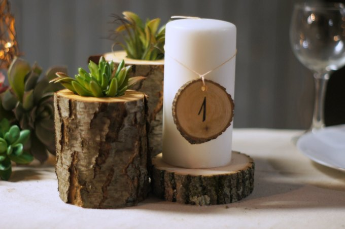 rustic centerpiece - wood centerpieces for wedding