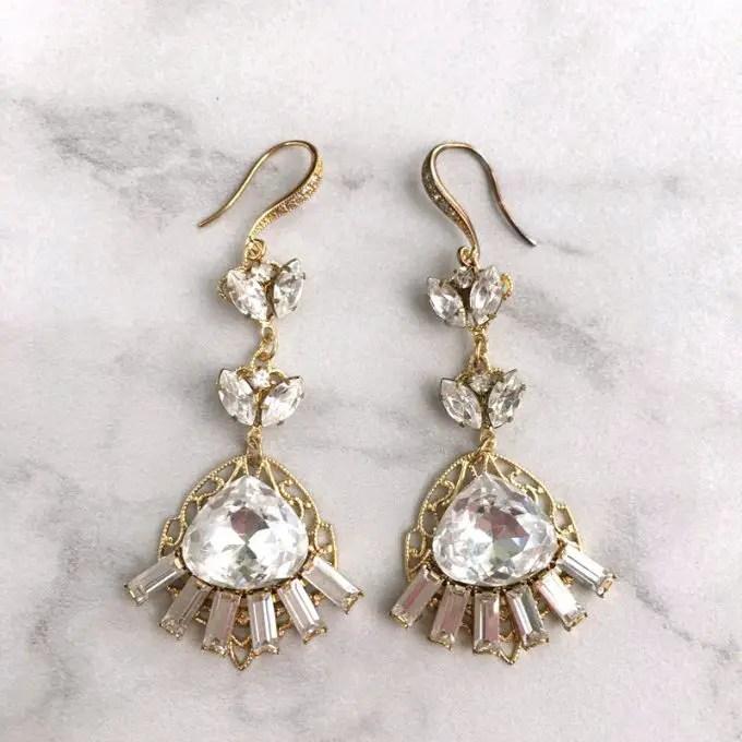 Luxury art deco inspired chandelier earrings