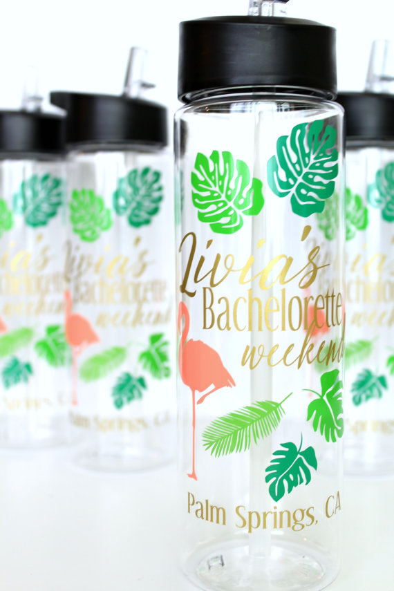 Water Bottles by Lucy Fifty Three | via Palm Tree Bachelorette Party Ideas http://bit.ly/2db3WOL
