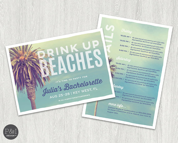 Drink Up Beaches Invitations by Paper and Ink Design Co | via Palm Tree Bachelorette Party Ideas http://bit.ly/2db3WOL