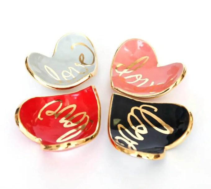 Heart Shaped Ring Dish by Susan Gordon Pottery | http://etsy.me/2cBOEgG | via Emmaline Bride's Handmade-a-Day Pick: http://emmalinebride.com/wedding/heart-shaped-ring-dish/