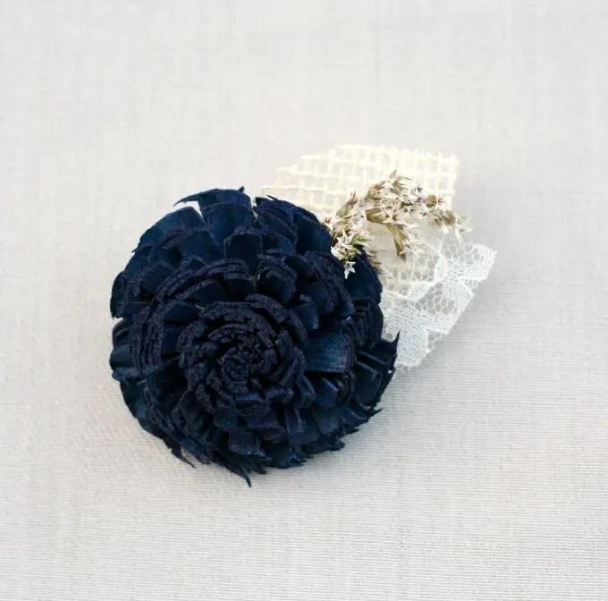 navy blue dried flower boutonniere