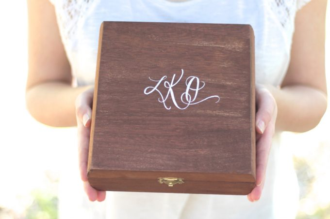 Personalized Bridesmaid Gift Box by Mulberry Market Design | via When Should You Give Bridesmaids Their Gifts? http://emmalinebride.com/planning/when-to-give-bridesmaids-gifts/