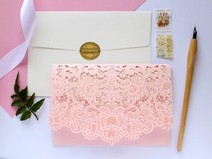 Lace Invitations Etsy