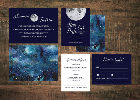 ... Starry Night Wedding Invites By The Woolberry Press: By The Woolberry  Press