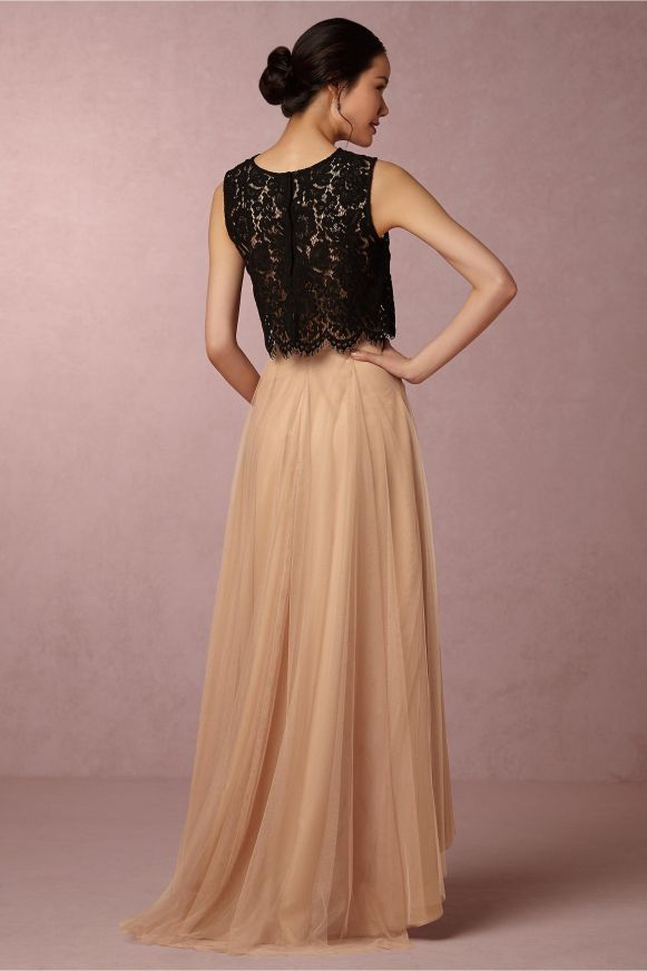 bridesmaid-tulle-skirts-black-lace-top-peach-skirt