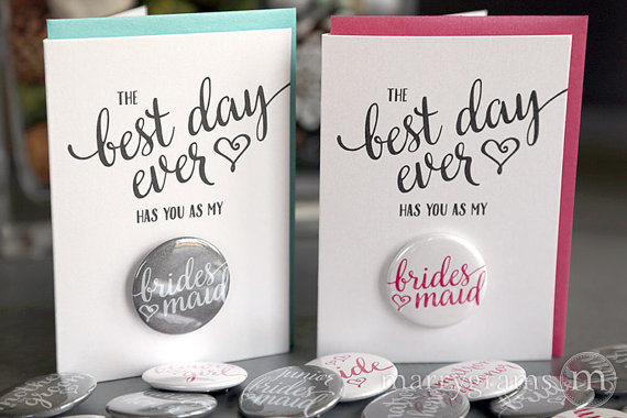 best day ever button cards bridesmaid be my by buttoncardsbymg