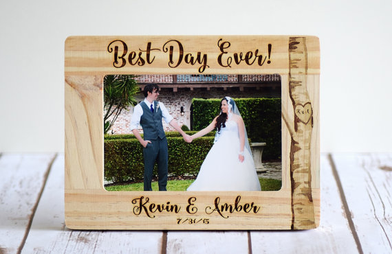 best day ever wedding photo frame by customwoodwonders