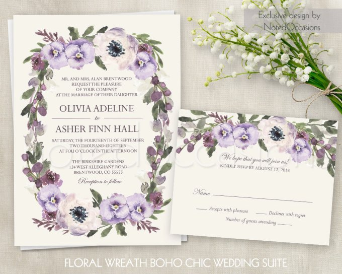 floral wreath invitations via free wedding invitations giveaway | http://emmalinebride.com/2017-giveaway/giveaway-win-free-wedding-invitations/