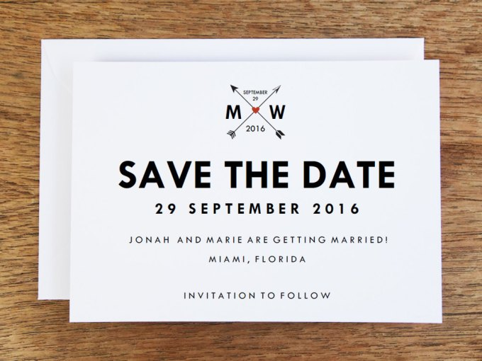 heart and arrow wedding save the date