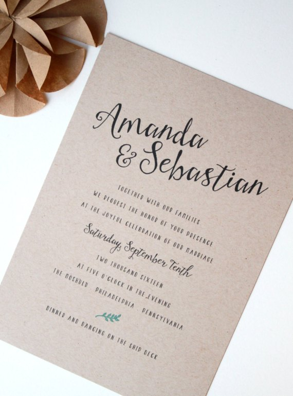 mint and kraft wedding invitations by golden silhouette