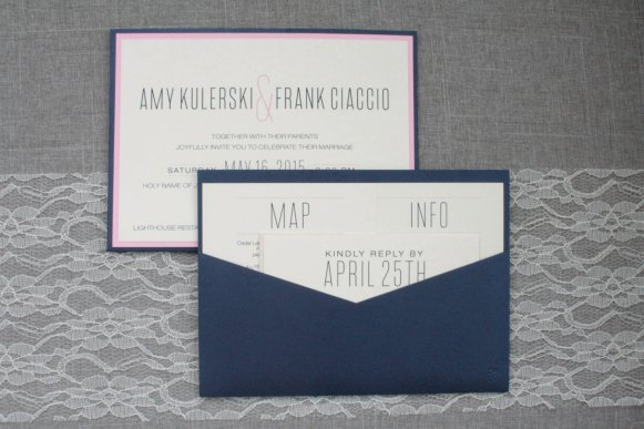 modern blush and navy wedding invitations