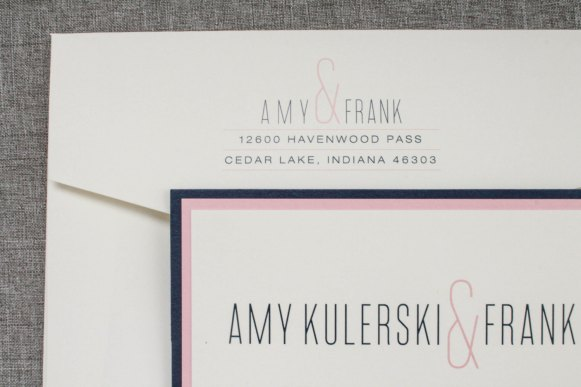 modern blush navy wedding invites