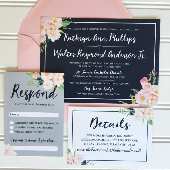 Navy and Pink Wedding Invitations | Emmaline Bride Wedding Blog