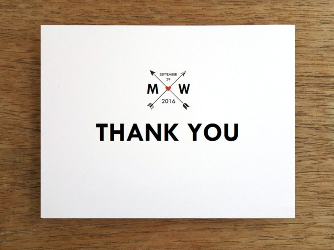 thank you cards | via Heart and Arrow Wedding Ideas: http://emmalinebride.com/themes/heart-and-arrow-wedding-ideas
