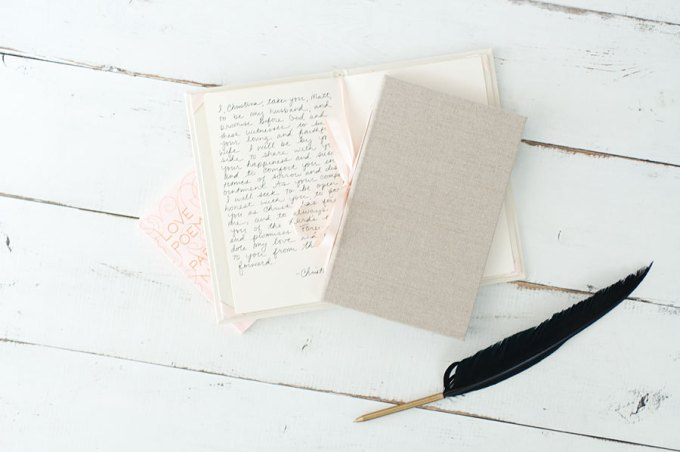 Our Vows | wedding vow book by claire magnolia via emmalinebride.com