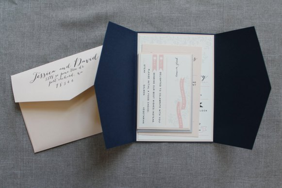 whimsical blush navy invitations 2
