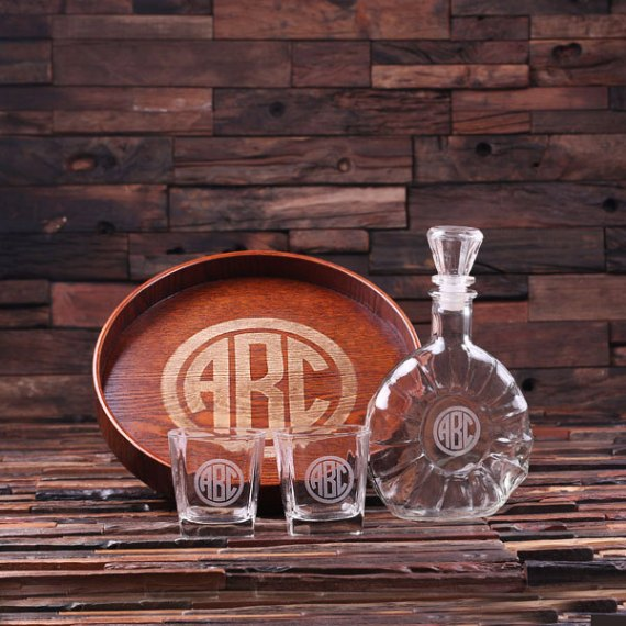 decanter for groomsman gift | decanter tray gift set / glasses / tray