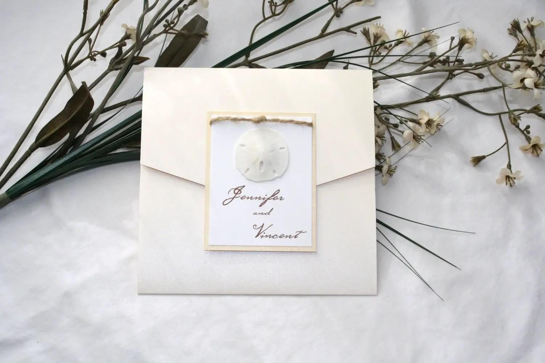 sand dollar beach wedding invitations plantable wedding invitations