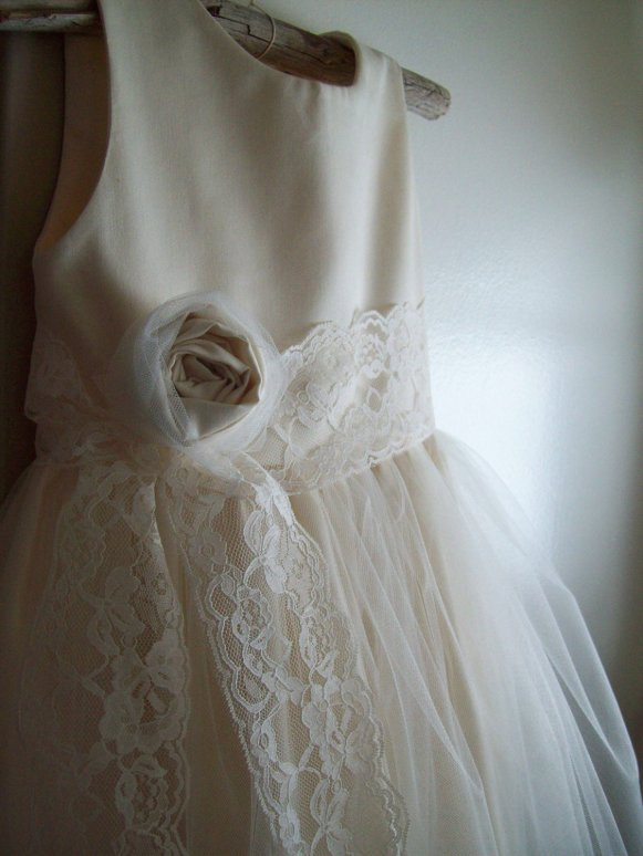 rustic flower girl dress with lace and rosette