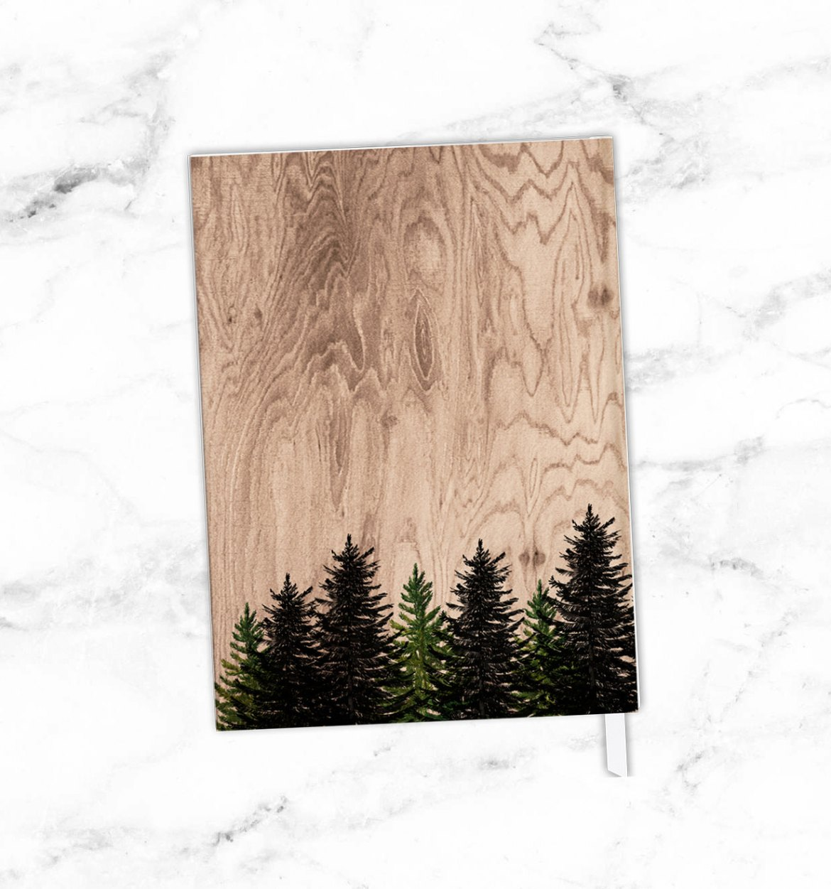 back of woodsy wedding guest book