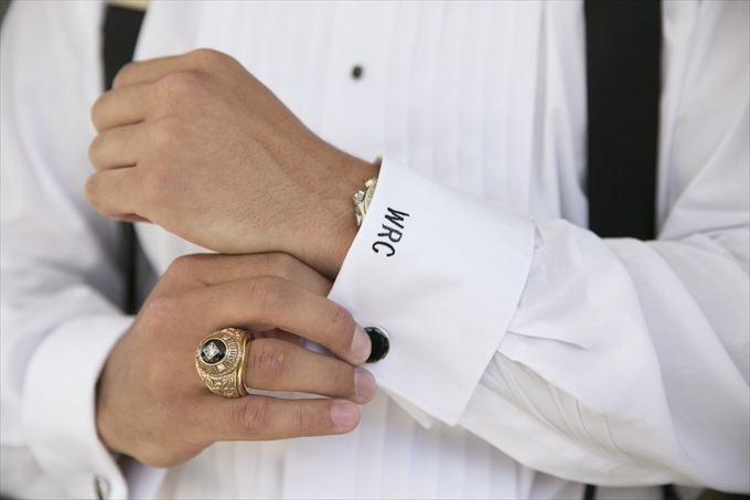 grooms cuff links in this Crystal Coast Wedding | North Carolina wedding photographed by Ellen LeRoy Photography - http://emmalinebride.com/real-weddings/breathtaking-crystal-coast-wedding-mara-will-married/