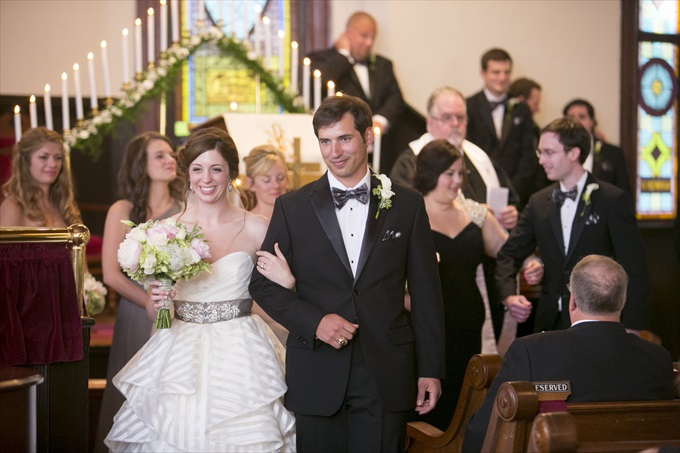 bride and groom walk up church aisle in this Crystal Coast Wedding | North Carolina wedding photographed by Ellen LeRoy Photography - http://emmalinebride.com/real-weddings/breathtaking-crystal-coast-wedding-mara-will-married/