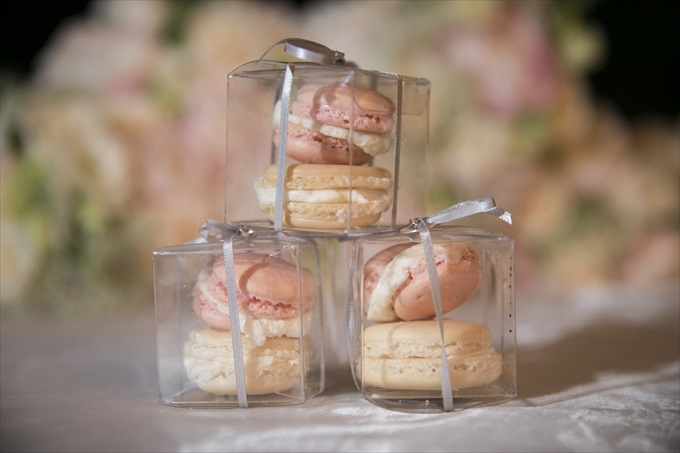 wedding macaroon favors in this Crystal Coast Wedding | North Carolina wedding photographed by Ellen LeRoy Photography - http://emmalinebride.com/real-weddings/breathtaking-crystal-coast-wedding-mara-will-married/